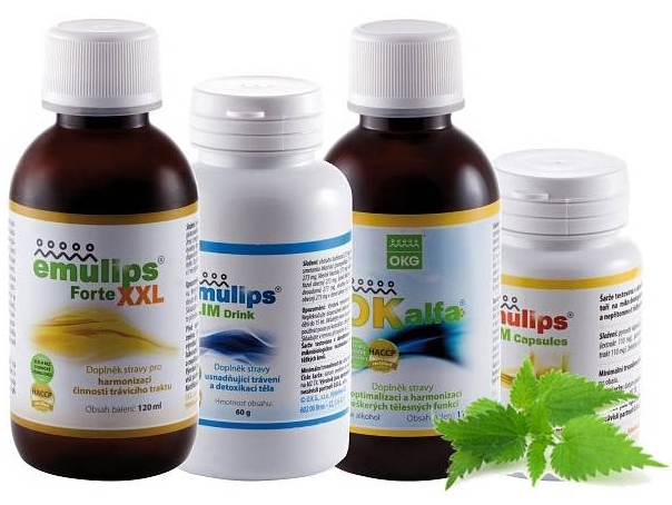 OKG Slim pack (pročištění, hubnutí) Emulips Active - 60 kapslí + Drink 60 g bylinné směsi, Emulips Forte XXL 120 ml, OK Alfa+ 115 ml