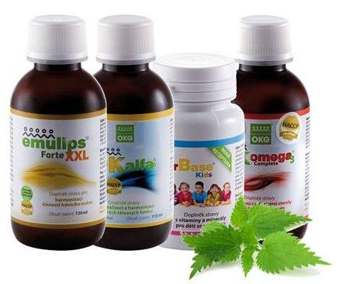 OKG Dia pack ( pro diabetiky) Emulips Forte XXL 120 ml, OK Alfa+ 115 ml, OK Omega-3 Complete 120 ml, Factor Base Kids 60 tbl.