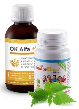 OK Alfa+ 115 ml, Factor Base KIDS 60 tbl. (sada na posílení obranyschopnosti a kondici)