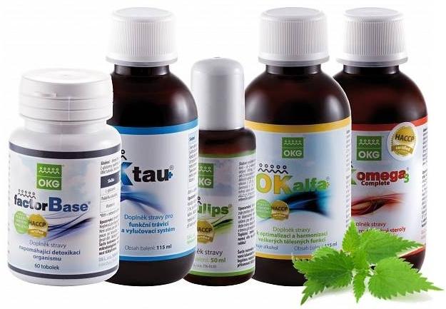 OKG Synergy pack (Factor Base 60 tbl., Ok Tau+ 115 ml, Emulips 50 ml, Ok Alfa+ 115 ml, Ok Omega-3 complete 120 ml)