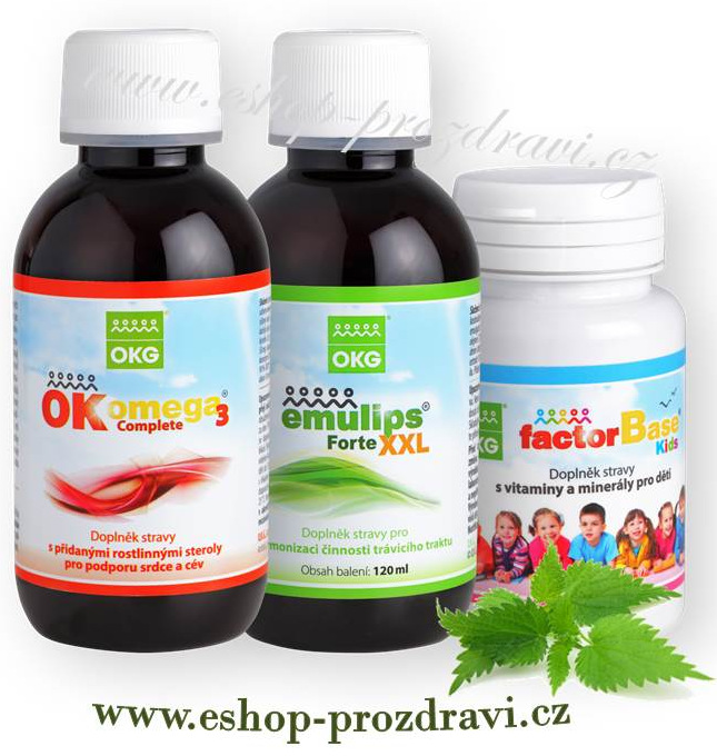 Neuro pack ( nervový systém) Emulips Forte XXL 120 ml, Factor Base Kids 60 tbl., OK Omega-3 Complete 120 ml