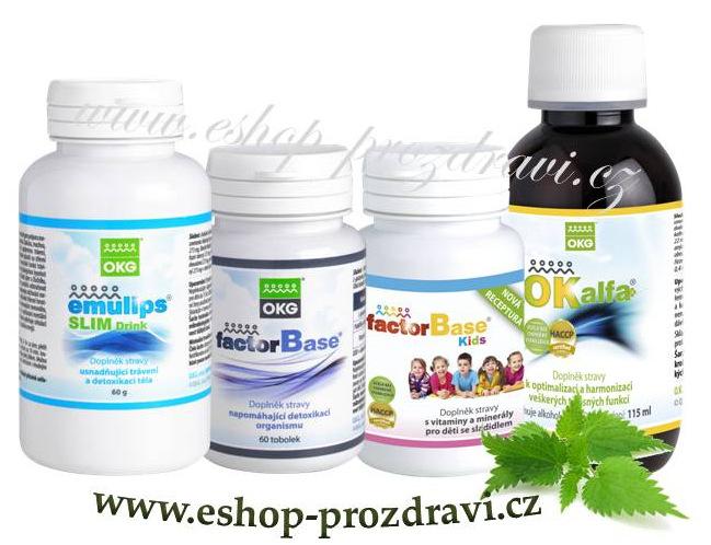 Endokrin pack (sada na štítnou žlázu) Emulips Slim Drink 60 g, OKG Factor Base 60 tbl., Factor Base Kids 60 tbl., OK Alfa+ 115 ml