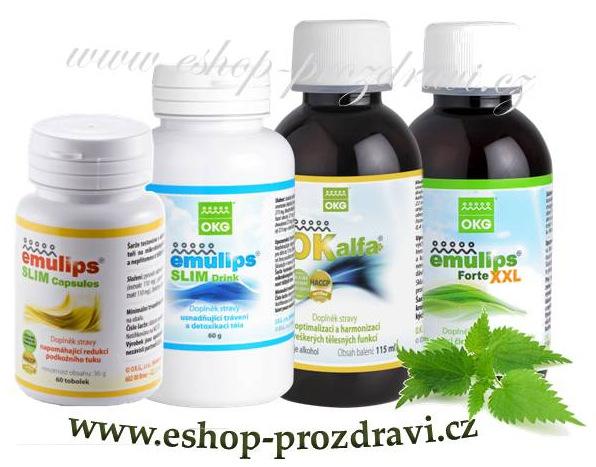 OKG Slim pack (pročištění, hubnutí) Emulips Slim - 60 kapslí + 60 g bylinné směsi, Emulips Forte XXL 120 ml, OK Alfa+ 115 ml