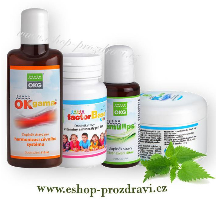 OKG Kids pack (Sada pro zdraví dětí) Factor Base Kids 60 tbl., Emulips 50 ml, OK Beta+ 150 g, OK Gama+ 115 ml