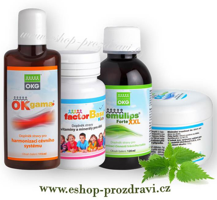 OKG Activ pack (pohybový systém) OK Beta+ 150g, OK Gama+ 115 ml, Factor Base Kids 60 tbl., Emulips Forte XXL 120 ml