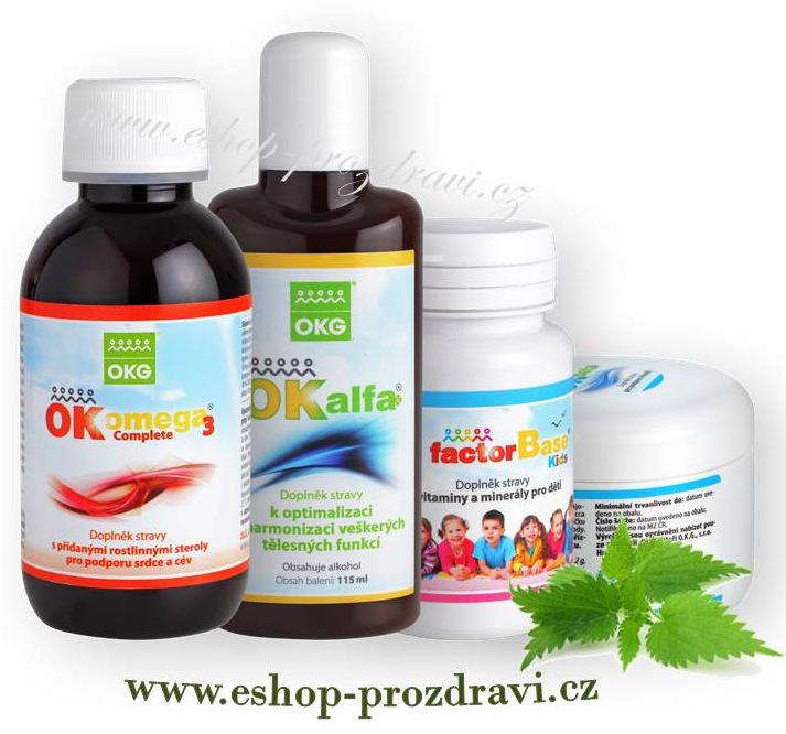 OKG Hormon pack (hormonální systém) OK Omega-3 Complete 120 ml, OK Beta+150g, OK Alfa+ 115 ml, Factor Base Kids 60 tbl.