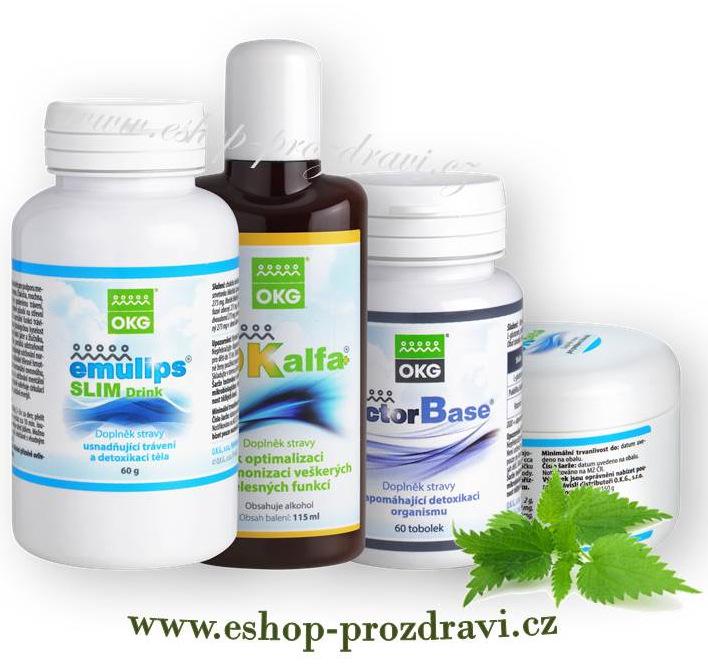 OKG Detox pack ( pročištění organismu) OK Alfa+ 115 ml, OKG Factor Base 60 tbl., Emulips Slim Drink 60g